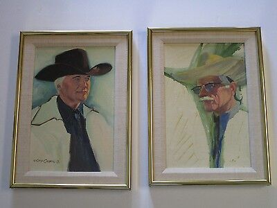 Pair Of Gary Carter  Painting  Western Portrait Cowboy Listed Americana Vintage