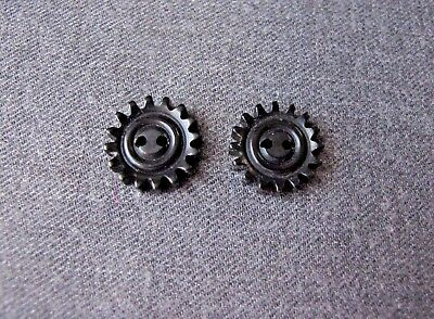 2 Vintage Galalith Steampunk Shaped Interlocking Buttons Craft Jewelry Making 27