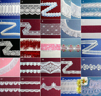 """Vintage Lace Trim Lots 1/2"""" - 4"""" Ruffled Cotton White Red Ivory Green Pink 86X"""