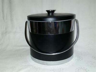 Retro Large Black Vinyl And Chrome Ice Bucket With Insulated Lining Japan