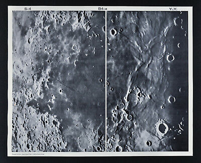 1960 Lunar Moon Map Photo Craters - Yerkes Observatory Plates Y65 & Y72 Astonomy