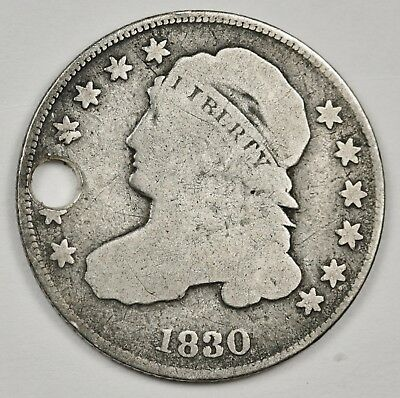 1830 Bust Dime.  V.G. Detail.  Holed.  125136