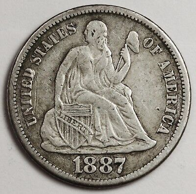 1887-s Liberty Seated Dime.  V.F.  125161