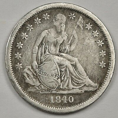 1840 Liberty Seated Dime.  No Drapery.  V.F.  125142