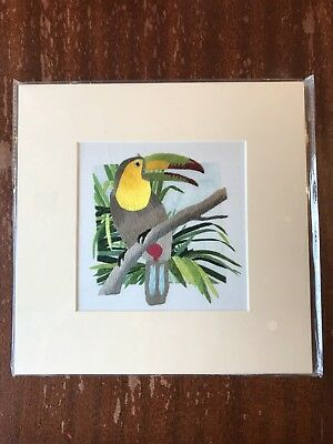 China Embroidery Art Inc Handmade Silk Royal Toucan Bird Matted Painting