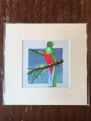 China Embroidery Art Inc Handmade Silk Royal Green Red Bird Matted Painting