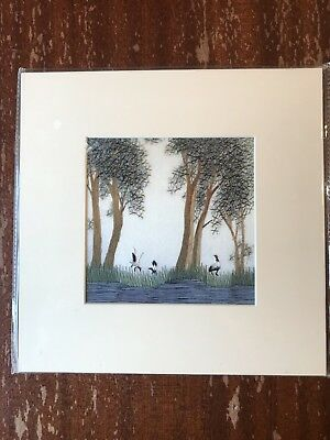 China Embroidery Art Inc Handmade Silk Royal Birds Trees Grass Matted Painting