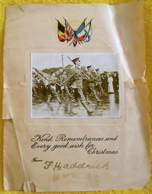 Antique Christmas Card - Real Photo - Soldiers Marching - On Parade - Wwi