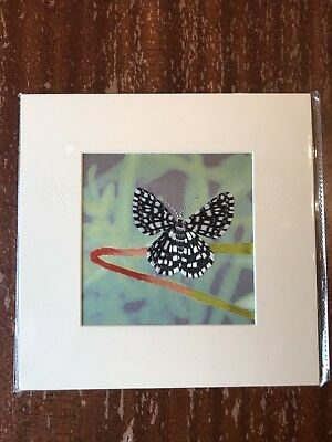 China Embroidery Art Inc Handmade Silk Royal Butterfly Black White Matted Paint
