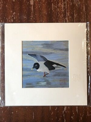 China Embroidery Art Inc Handmade Silk Royal Bird Blue Grey Matted Painting