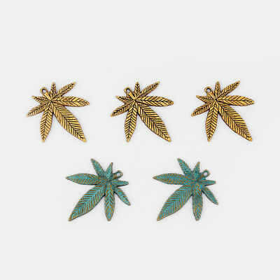 10Pcs Antique Gold/Ancient Greek Bronze Pot Leaf Weed Charms Pendants 34*39mm