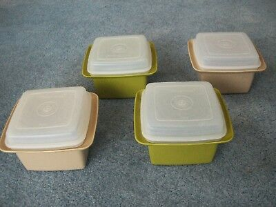 Vintage 1970s Tupperware x4 Small, Square Containers with Lids Olive and Beige