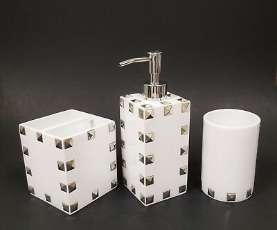 New Mike+Ally 3 Pc Set White Resin+Silver Pyramid Stud Accent Soap Dispenser+2