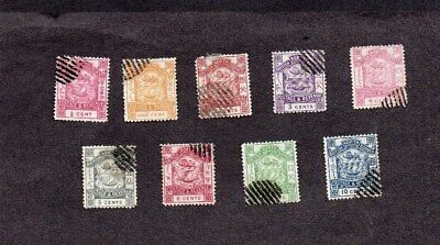 1888.NORTH BORNEO.COAT OF ARMS 'POSTAGE&REVENUE' SET TO 10c.CANCELLED TO ORDER.