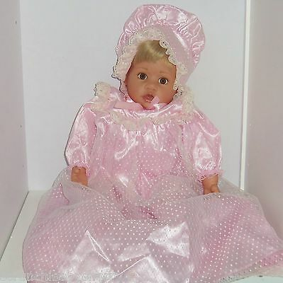 Gotz Baby Doll Signed Pink Gown Bonnet Shoes Blond Hair Soft Body Collector