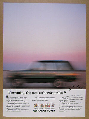 1989 Range Rover Classic 'the new, rather faster' photo vintage print Ad