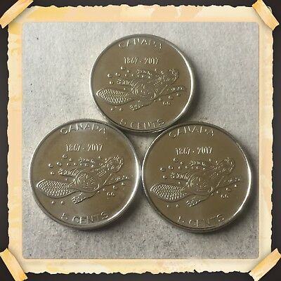 Lot Of 3 1867-2017  Canada five cents Canadian nickels Coins #ABC1
