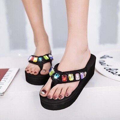 Womens Wedge Flip Flops Black Rhinestone Platfrom Slippers Sandals Shoes Casual