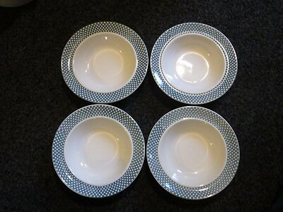 Vintage Swinnertons 4 X Green Chequers Pattern Rimmed Bowls 6.5 Inches