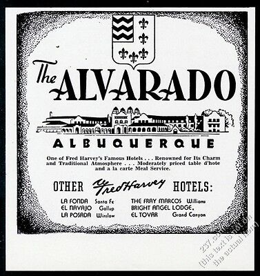 1958 The Alvarado Hotel Albuquerque New Mexico Fred Harvey vintage print ad