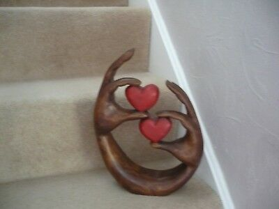 A Stunning Carved Wooden Sculpture Two Hands And Two Hearts A Beautiful Item