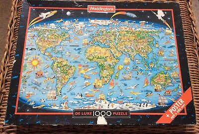 Vintage world map robert frederick 1000 piece jigsaw puzzle 894 world map waddingtons 1000 piece map jigsaw puzzle and poster gumiabroncs Images