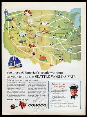 1962 Conoco oil gas USA map to Seattle World's Fair vintage print ad
