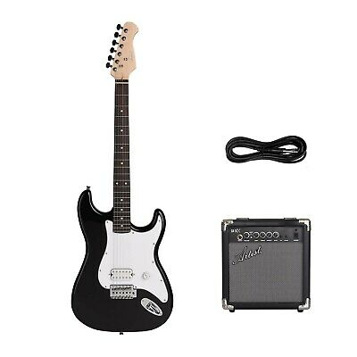 Artist EB2 Budget ST Style Electric Guitar - Black + 10 Watt Amp - New