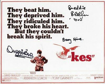 KES - In person signed 10x8. FREDDIE FLETCHER, DUGGIE BROWN & BARRY HINES