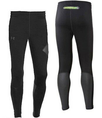 Mens Black Under Armour Storm Run Stealth Running Tights Size Large Reflective