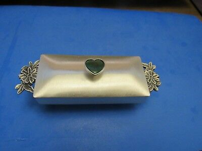 Vintage Rare Sterling Silver Signed Ag999 Pure Silver Jade Heart Trinket Box