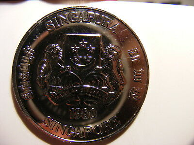 Singapore 1980 Nickel 5 Dollars, KM#17.1a, Communications Satellites
