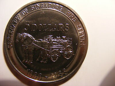 Singapore 1988 (ND) C/N 5 Dollars, KM#70, Horses pulling wagon