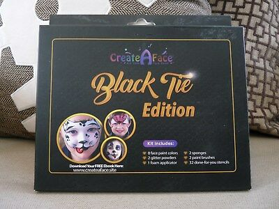 Create A Face Painting Set + Stencils Black Tie Edition, 47-Pcs Brushes, Glitter
