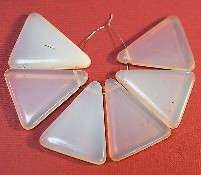 Antique Czech Molded White Glass Tabular Triangle Wedding Beads, African Trade