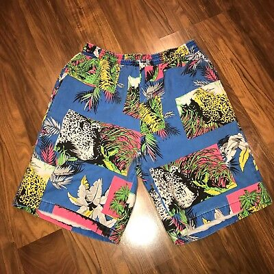 Vtg 80s 90s Mens Small BUMMERS Beach jams Cotton Swim trunks Neon SURF shorts