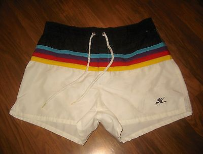 Rare Vtg 70s 80s Rainbow HOBIE Hawaii Mens 28 Surf Swim suit trunks shorts XS