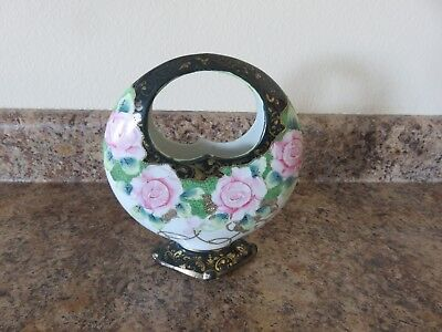 Nippon Pink Roses Cobalt round basket 8 inches high unmarked
