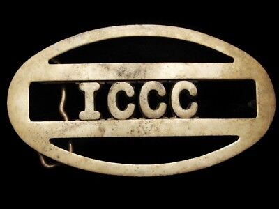 LG21136 VINTAGE 1970s **I.C.C.C.** ORGANIZATION SOLID BRASS BELT BUCKLE