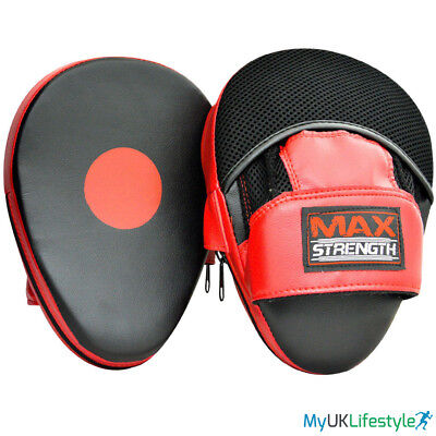 MAXSTRENGTH Focus Pads and Target Gloves Set Boxing MMA Punch Bag Training Hook /& Jab Mitts Curved