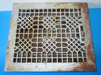 Antique Cast Iron Heat Grate Floor Vent Register Honeycomb Waffle Style
