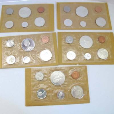 CANADA 1965 Uncirculated PROOF-Like COINS - Silver - 5 SETS=30 coins
