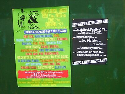 Leigh Rock Festival 79 pair of  large posters from original festival designs