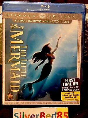 Disney's The Little Mermaid Blu-ray/3D/DVD/Digital 2013 Diamond Edition Rare OOP
