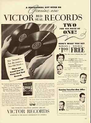 1941 vintage ad for Victor Red Seal Phonograph Records  -050912