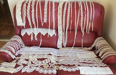 Collection of Vintage & Antique Lace Remnants Edgings