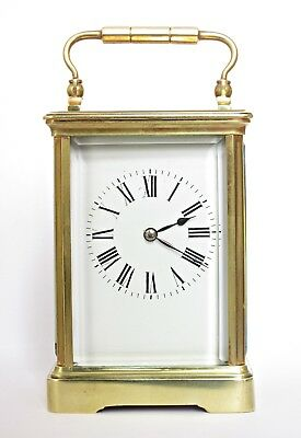 "Lge 7"" Couaillet Antique French Striking Carriage Clock & Original Case Serviced"
