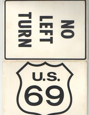 6 Different Oversized Warning Postcards By Sign Posts 60'S/70'S