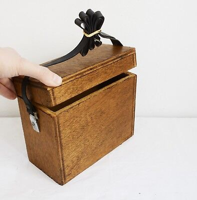 Vintage Strong Wooden Box with Top Strap. Useful Item - 21.5 x 10.5 x 29.5cms
