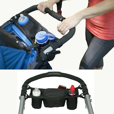 HOT Infant Baby Stroller Console Organizer Double Cup Holder Mummy Bags Pouch